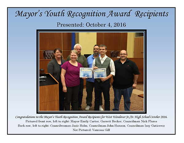 Mayors Youth Award Recipients WWHS October 2016-small