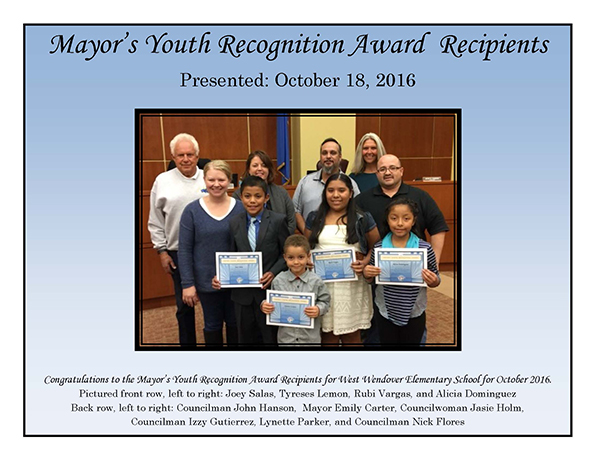 Mayors Award Recipients WWES October 2016-small