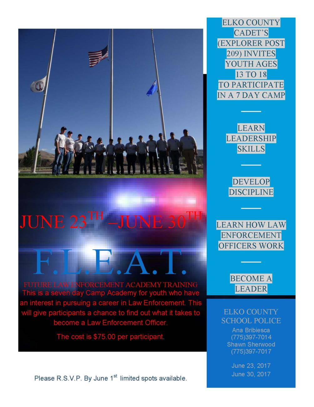 6-23-2017 Future Law Enforcement Academy Training Flyer Image