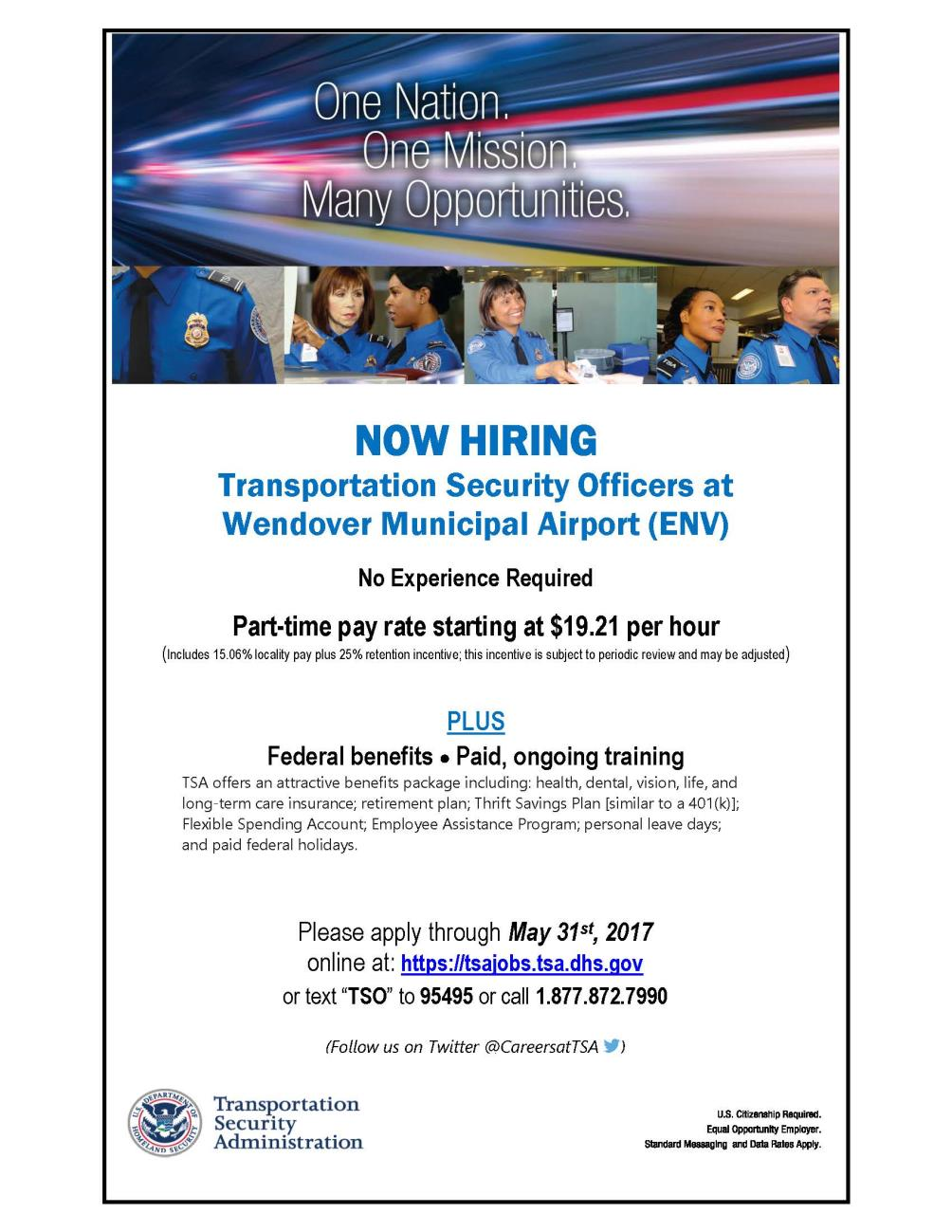 TSA Employment Flyer for Wendover Airport