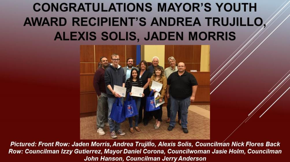 Mayors Youth Award WWHS May 2017