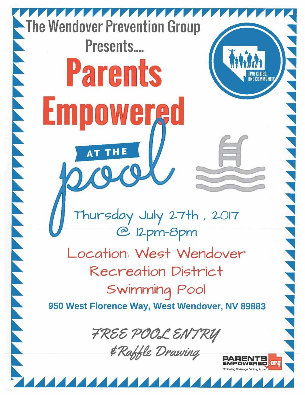 Image Parents Empowered Free Pool Day Flyer 7-27-17