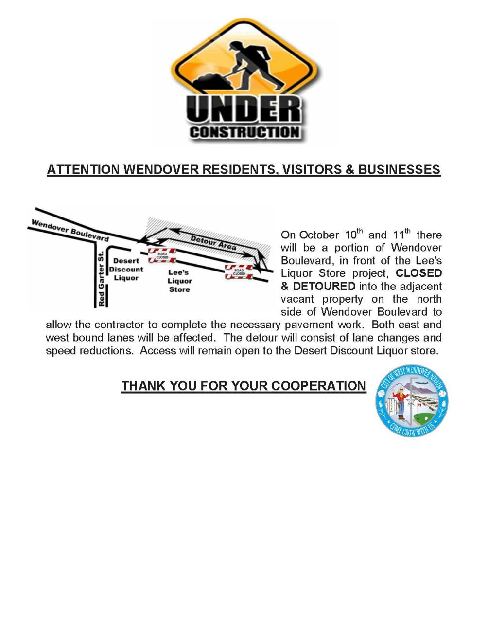 Road Closure-Detour Wendover Blvd 10-2017