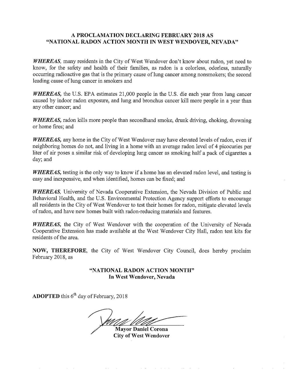 WW Proclamation - Feb 2018 National Radon Action Month