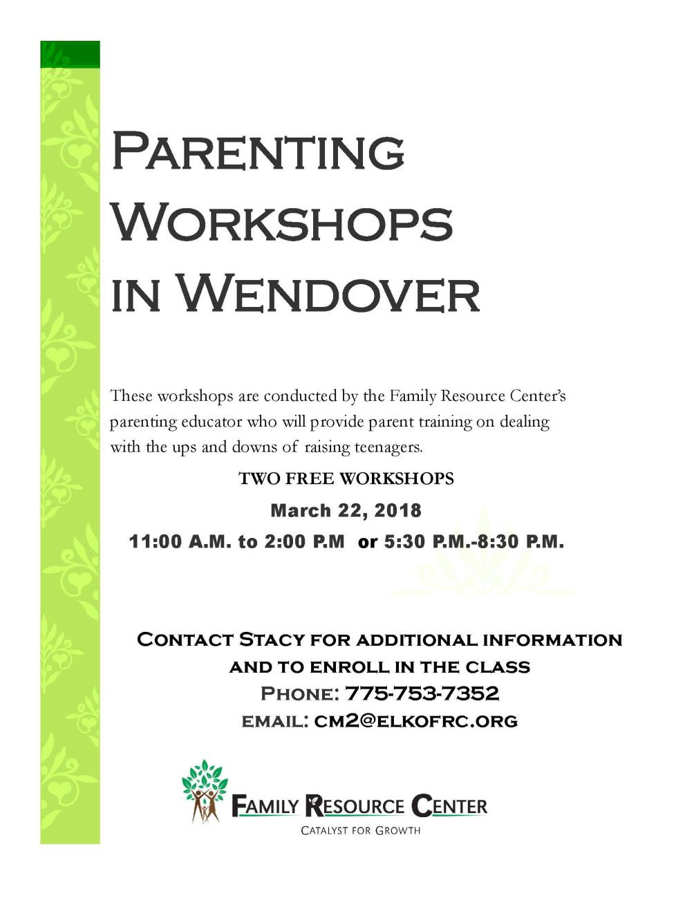 FRCNN Wendover Parent Education March 2018