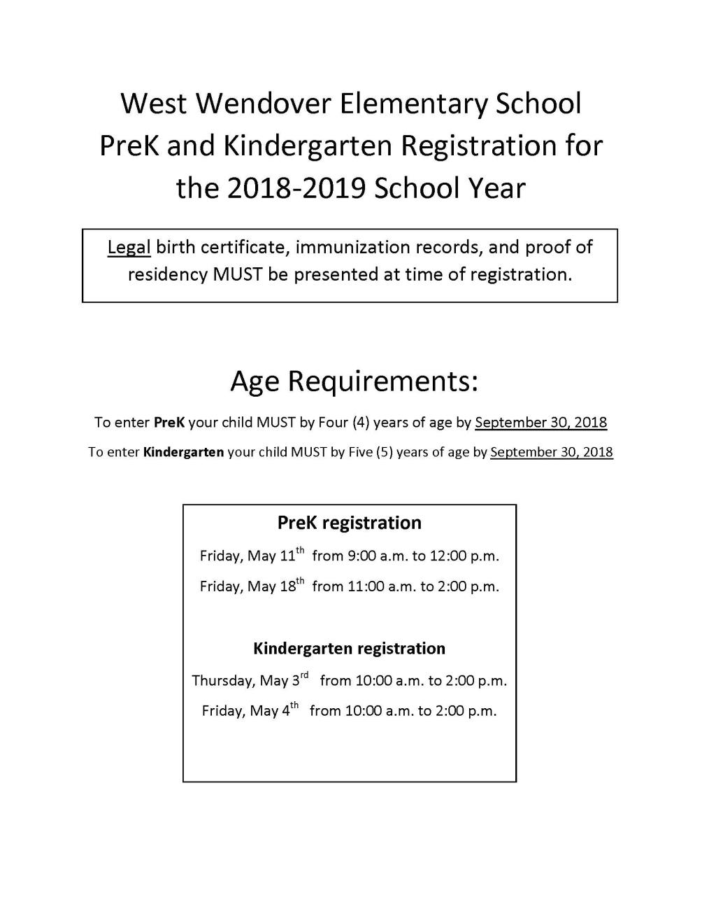 WWES PreK and Kindergarten Registration 2018-2019 School Year