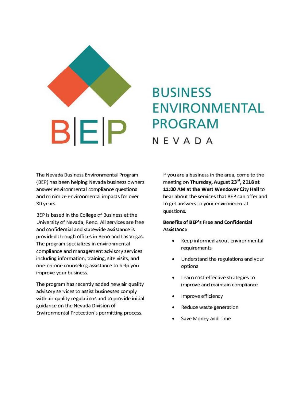 Business Environmental Program - Nevada 8-23-2018