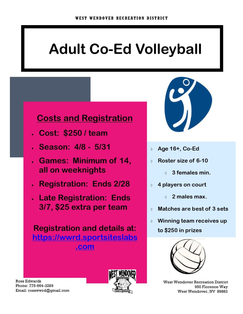 WWRD Adult Co-Ed Volleyball Registration Underway - Ends Feb. 28th