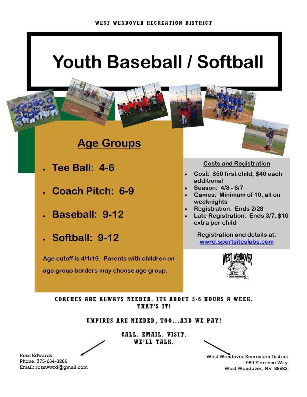 WWRD Youth Baseball/Softball Registration Underway - Ends Feb. 28th