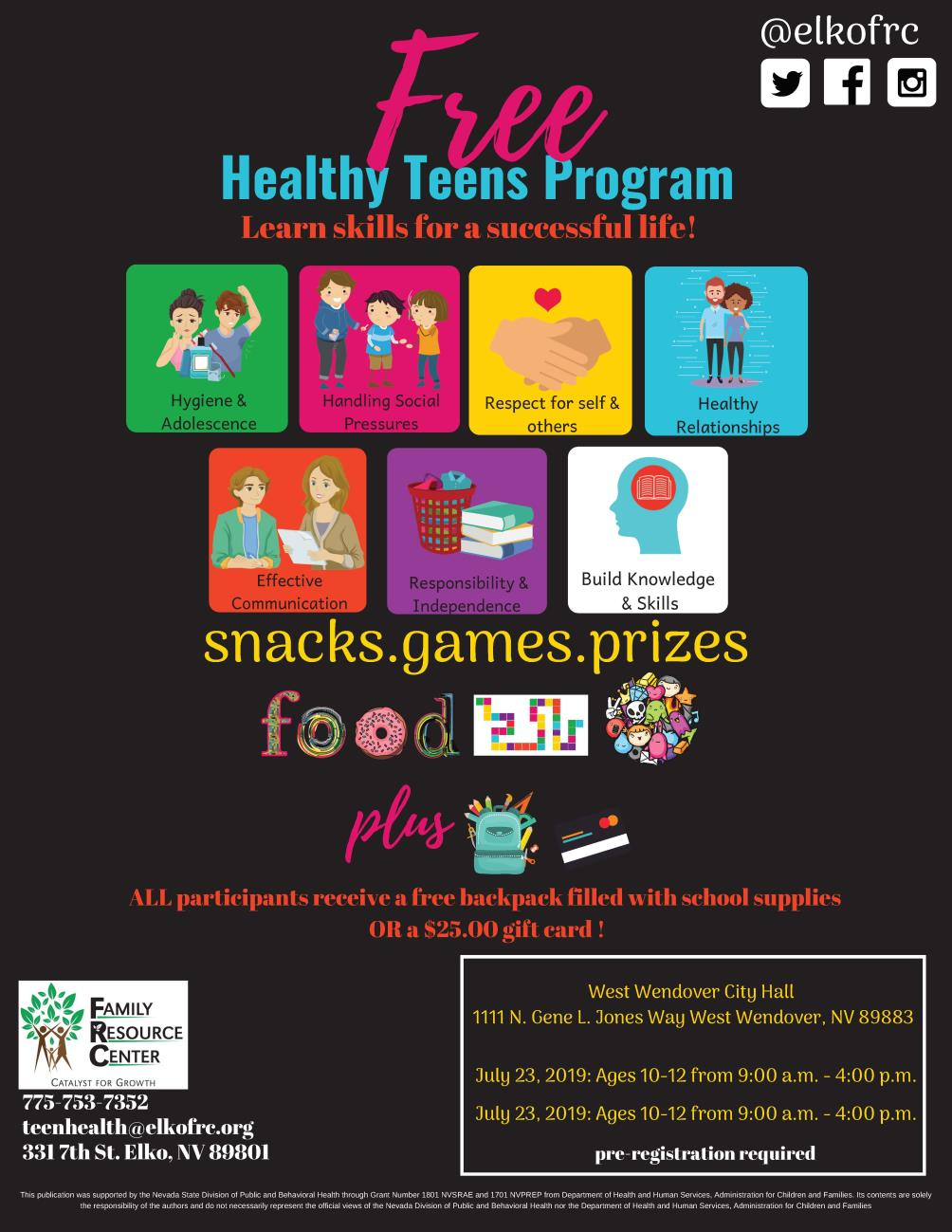 Famiy Resource Center - Healthy Teens Program July 23rd