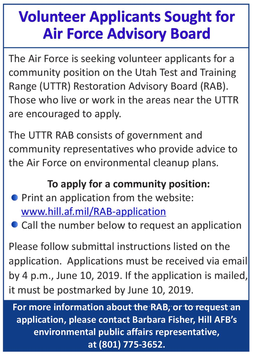 Air Force Seeks Local Volunteers for Advisory Board