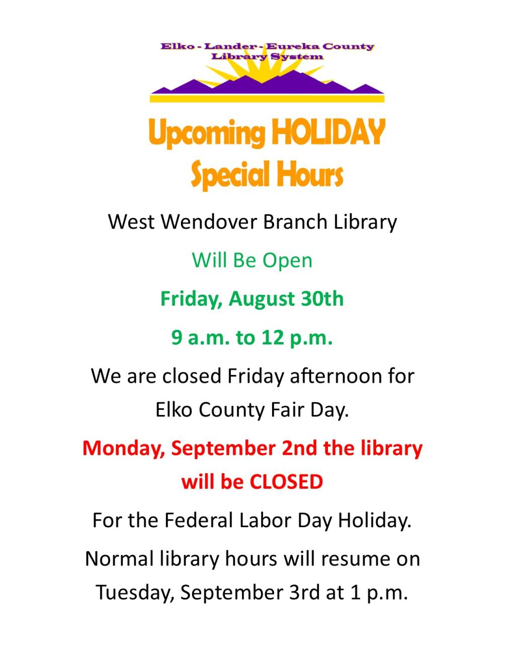 West Wendover Library Upcoming Holiday Hours