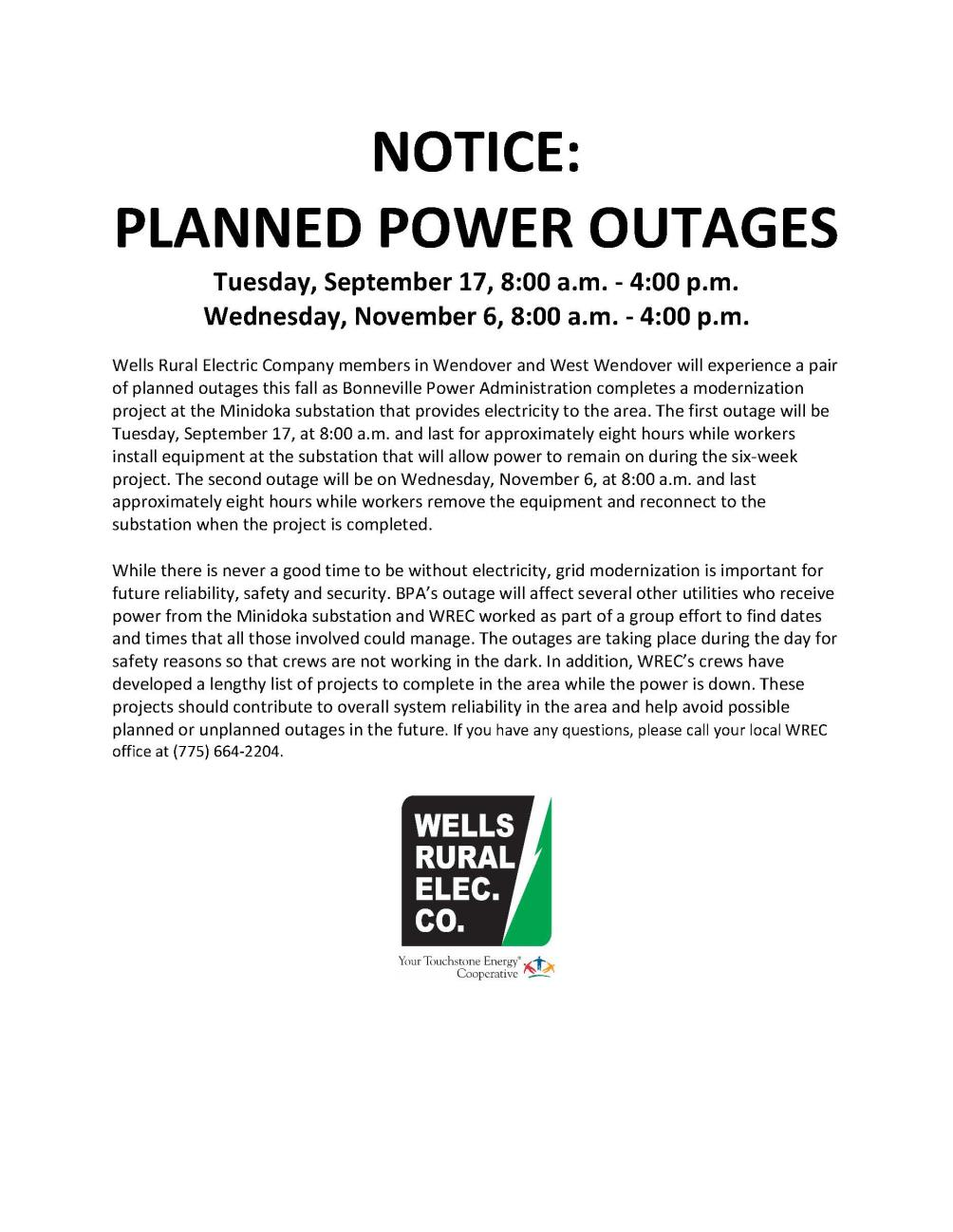 WW power outage notice update 10-30-2019