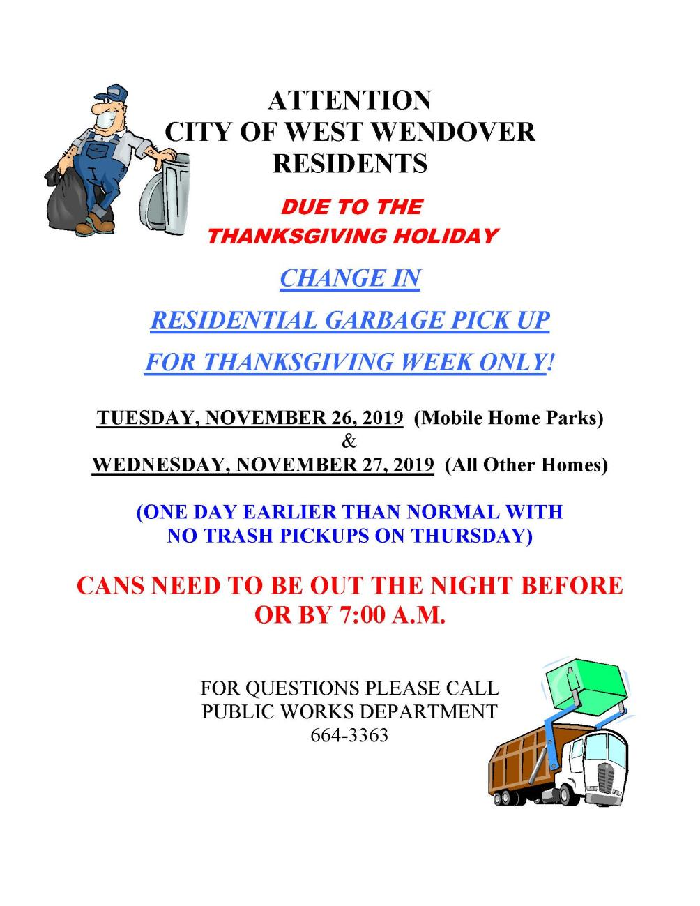 Modified Residential Garbage Pickup for Thanksgiving Day Week