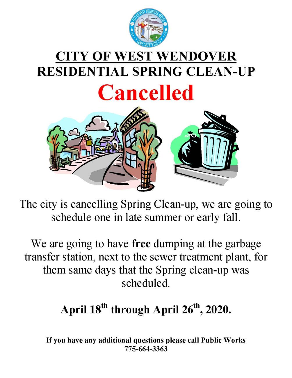 Traditional Spring Clean Up Cancelled ... But You Can Dump For Free The Same Week